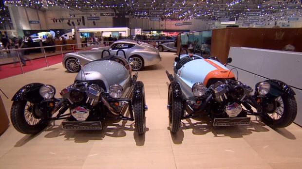 Morgan Motor Company makes outrageously cool looking 3- wheel cars.