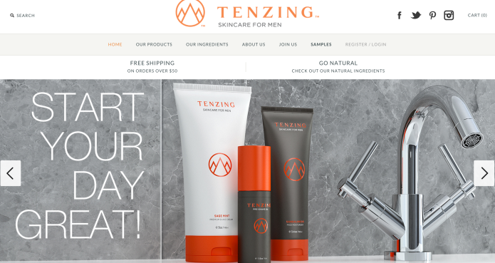 A screenshot of the web design, layout and copy work I did for Tenzing Skincare.