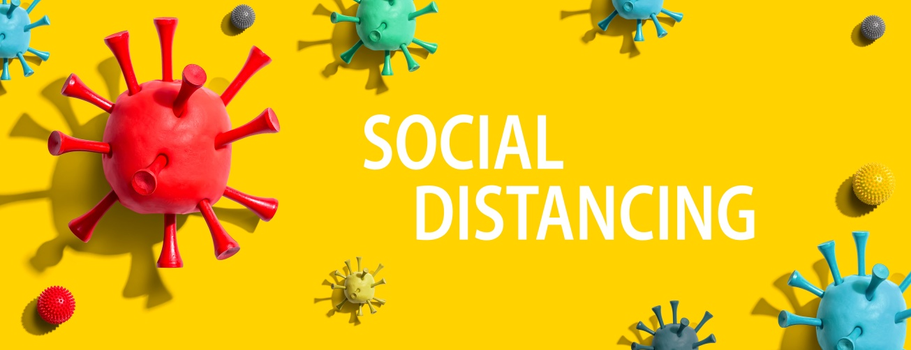 Social Distancing theme with virus craft objects